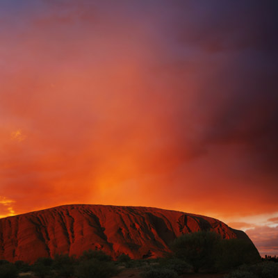 Sunrise and sunset at Uluru